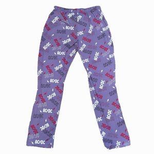 AC/DC ladies purple pj soft pants elastic waist